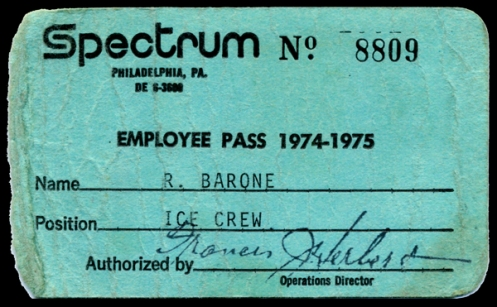 Flyers/Spectrum Ice Crew ID card with operations director, Colonel Frank Herbert's authorization signature, my name and the year. courtesy: roger barone archives