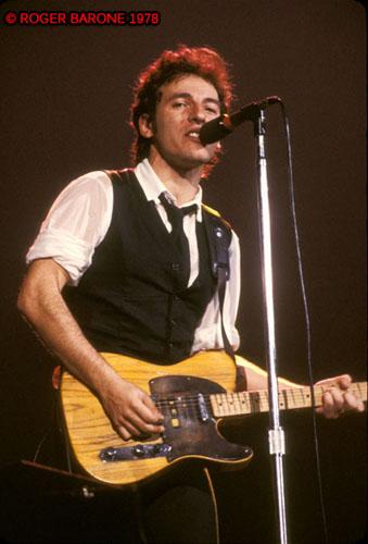 Philadelphia favorite, Bruce Springsteen, during 1978 concert at the Spectrum Arena in Philadelphia. © roger barone 1978
