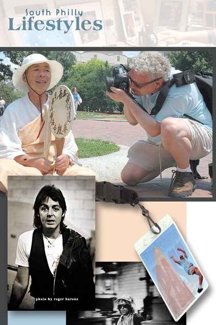 "The photo collage that accompanied today's story in the South Philly Review (May 21, 2009) In the upper photo by Shobha Mocherla, I am pictured outside the White House photographing an anti-war protester. A second shot of me is from the Washington Monument, appearing as a leap. The shots of McCartney and Richards are two of the images I contributed to the  ""God Bless The Spectrum"" book. Collage assembled by the staff of the South Philly Review."