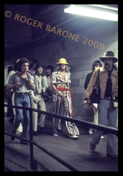 Rod Stewart and Faces walking along the cinder block corridors moments before taking the stage at the Spectrum. © ROGER BARONE/PHOTOSFROMPHILLY