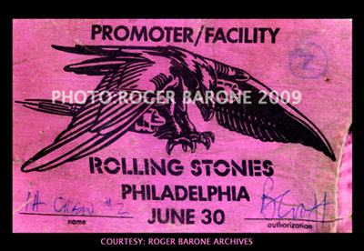Rolling Stones backstage pass for Monday, June 30, Philadelphia show at The Spectrum. The pass is signed by Brian Croft from the Stones road team. The first night's pass (June 29) was orange.  PHOTO: ROGER BARONE 2009; couresty ROGER BARONE ARCHIVES