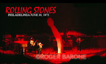 The Rolling Stones controversial stage prop was banned in a few cities during their 1975 tour. The phallic shaped balloon was inflated during Star Star, a song from their Goats' Head Soup album. © roger barone 1975
