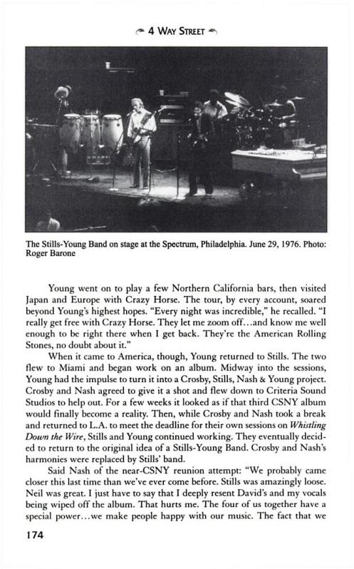 Stills and Young photo from the Spectrum that was published in David Zimmer's anthology of Crosby, Stills, Nash and Young stories. This photo accompanied a story by Cameron Crowe. © ROGER BARONE 1976