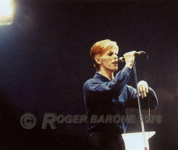 "David Bowie during a performance at The Spectrum in support of his ""Station to Station"" album in 1976. © ROGER BARONE 1976"