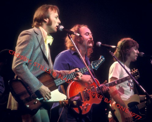 Crosby, Stills and Nash, performing during the electric part of their show at The Spectrum. © ROGER BARONE 1977