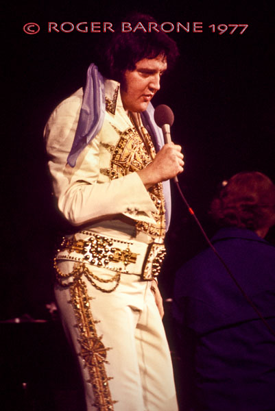 Elvis Presley performing at The Spectrum a couple of months before his untimely death on August 16.. © ROGER BARONE 1977