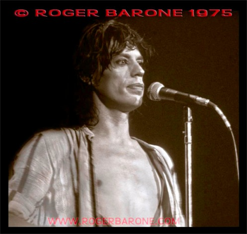 "Mick Jagger  stares ahead while singing ""Angie,"" at The Spectrum on June 29, 1975. © ROGER BARONE 1975"