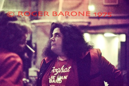 Former Mountain guitarist Leslie West waits back stage before his performance at The Spectrum. © ROGER BARONE 1975
