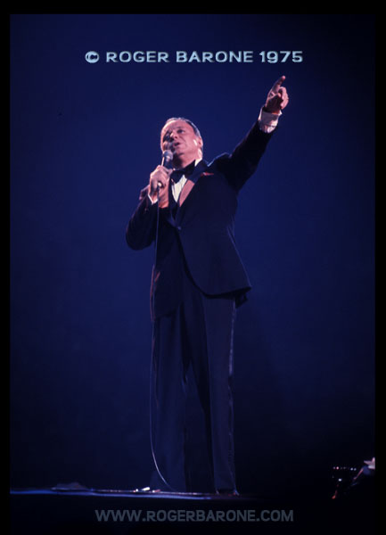 "Frank Sinatra performs at The Spectrum during the fall of 1975. A year earlier he came out of retirement for the ""Ole Blues is Back Tour."" © ROGER BARONE"