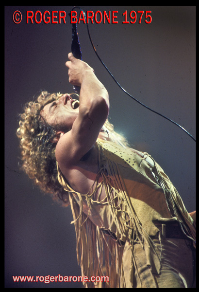 Roger Daltry, lead singer with The Who, packs displays emotion as he performs at The Spectrum in 1975. © ROGER BARONE 1975