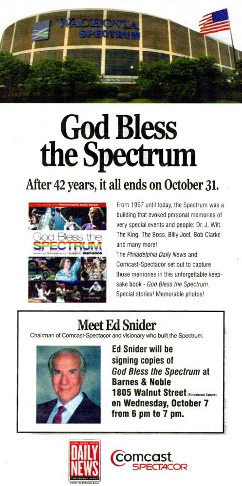 Ed Snider book signing event at Philadelphia Barnes and Noble on October 7 advertisement in Philly Daily News.