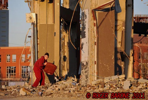 young man sneaks inside spectrum arena demolition site