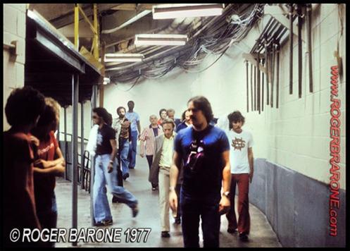 crosby, stills & nash backstage at the spectrum arena 1977