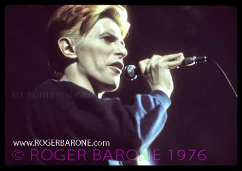 """david bowie singing from """"Station to Station"""" album at Spectrum Arena Philadelphia photo by roger barone 1976"""