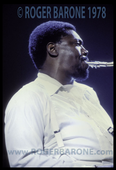 Clarence Clemons playing saxaphone at Spectrum Arena with Bruce Springsteen & E-Street Band 1978