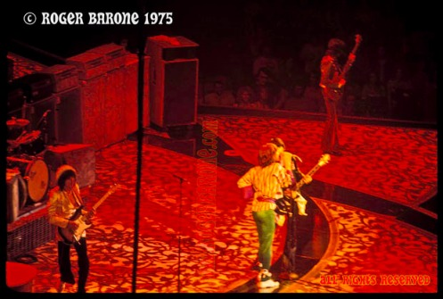 """Rolling Stones singing """"Honky Tonk Woman"""" at the Spectrum Arena in Philadelphia, June 29, 1975, photo by roger barone"""
