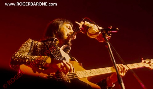 who bass player john entwhistle performs at the Spectrum Arena, photo by roger barone 1975