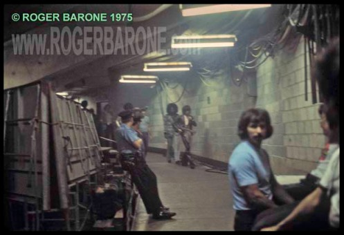 keith richards and billy preston walking backstage heading to spectrum stage © roger barone 1975