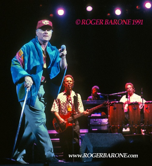 Beach Boys singer Mike Love performing at the Spectrum Arena © photo by roger barone 1991