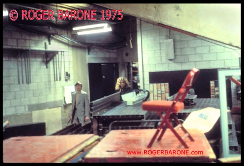 Robert Plant of Led Zeppelin arrives at Spectrum Arena walks backstage photo by roger barone 1975
