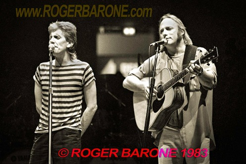 stephen stills & graham nash performing at spectrum arena philly, photo by roger barone 1982