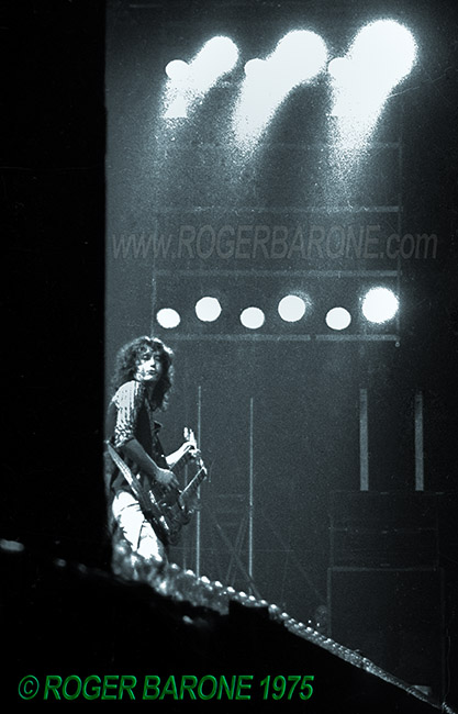 Led Zeppelin guitarist Jimmy Page performing at the Spectrum Arena in Philadelphia photo © Roger Barone 1975