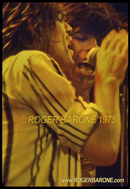 """Mick Jagger and Keith Richards singing """"Happy"""" at Spectrum Arena photo by roger barone 1975"""