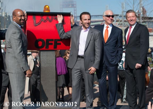 """Dedication ceremonies for the new """"Xfinity Live"""" entertainment complex on the former site of the Spectrum Arena. © Roger Barone 2012"""
