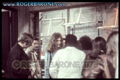 Led Zeppelin backstage at Spectrum Arena photo roger barone (2/8/75)