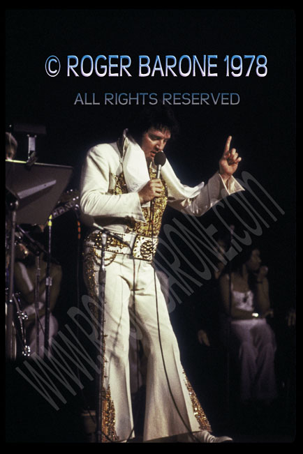 Elvis Presely performng at Spectrum Arena in Philadelphia May 1978; photo by roger barone
