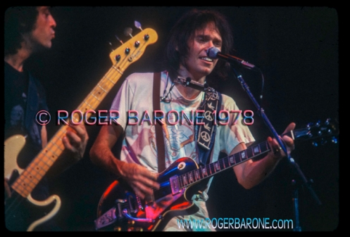 "Neil Young with Crazyhorse during the ""Rust Never Sleeps"" Tour. Photo: roger barone 1978"