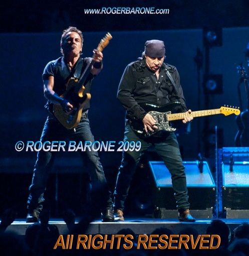 Bruce Springsteen and Stevie Van Zandt performing at Spectrum Arena April 2009 photo by roger barone
