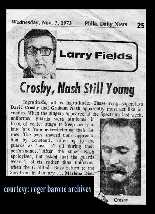 david crosby and graham nash attached by philly columnist for rude behavior in philly spectrum arena..courtesy roger barone archives, 10/31/73