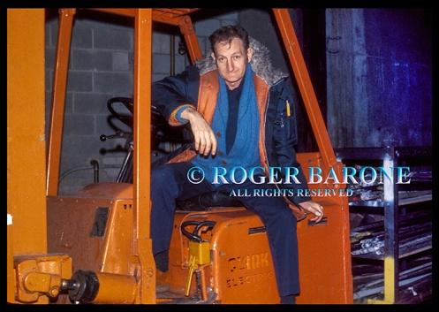 Spectrum Arena full-time laborer, Bob Huff, sitting on forklift: © roger barone 1976
