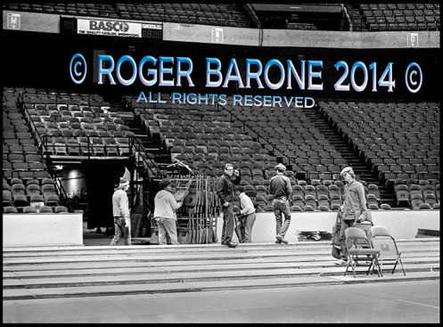 Flyers Stanley Cup Zamboni Driver Ed Fletcher oversees changeover set up to basketball. © roger barone 2014